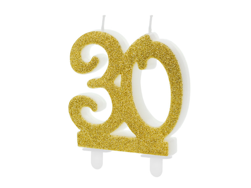 PD Birthday candle Number 30, gold, 7.5cm