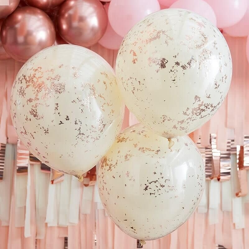 GINGERRAY DOUBLE LAYERED CREAM AND ROSE GOLD CONFETTI BALLOONS