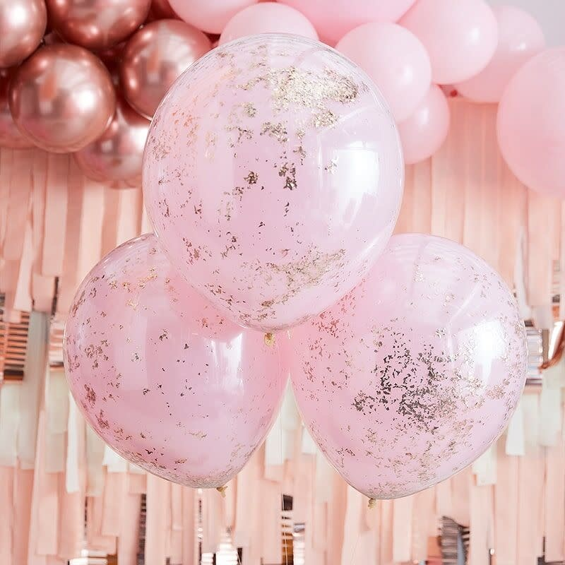 GINGERRAY DOUBLE LAYERED PINK AND ROSE GOLD CONFETTI BALLOONS