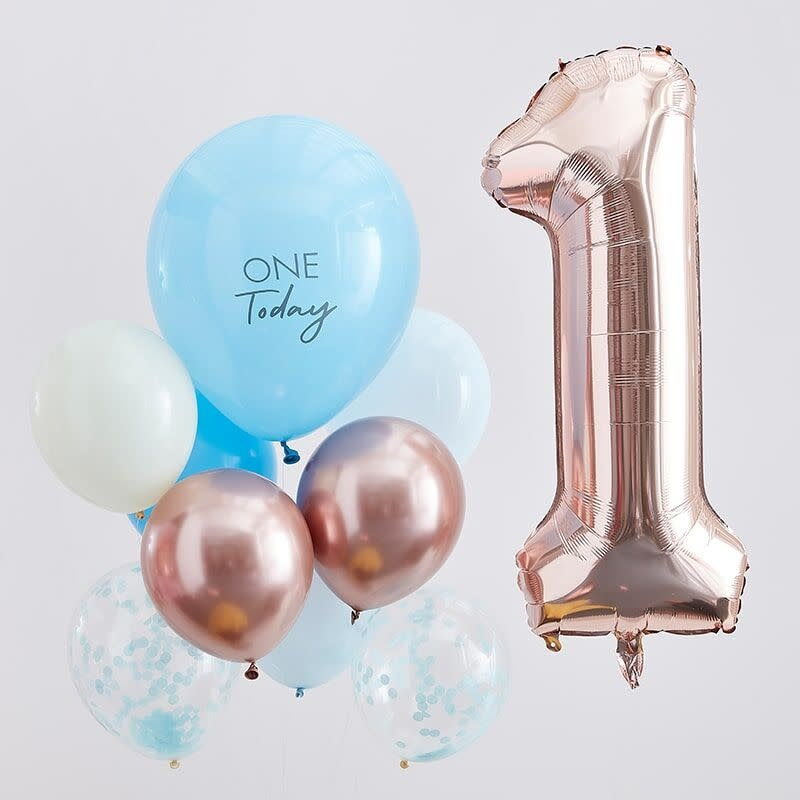 GINGERRAY BLUE AND ROSE GOLD FIRST BIRTHDAY BALLOONS