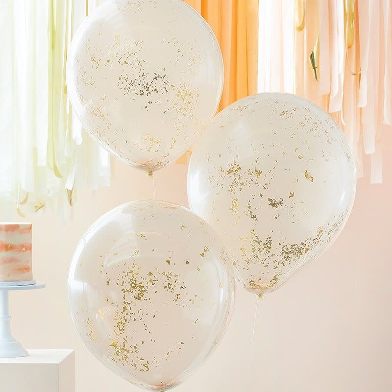 GINGERRAY DOUBLE LAYERED PEACH AND GOLD GLITTER CONFETTI BALLOONS