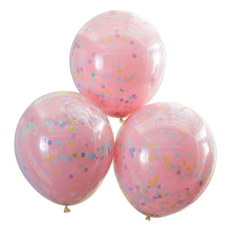GINGERRAY DOUBLE LAYERED PINK AND PASTEL RAINBOW CONFETTI BALLOONS