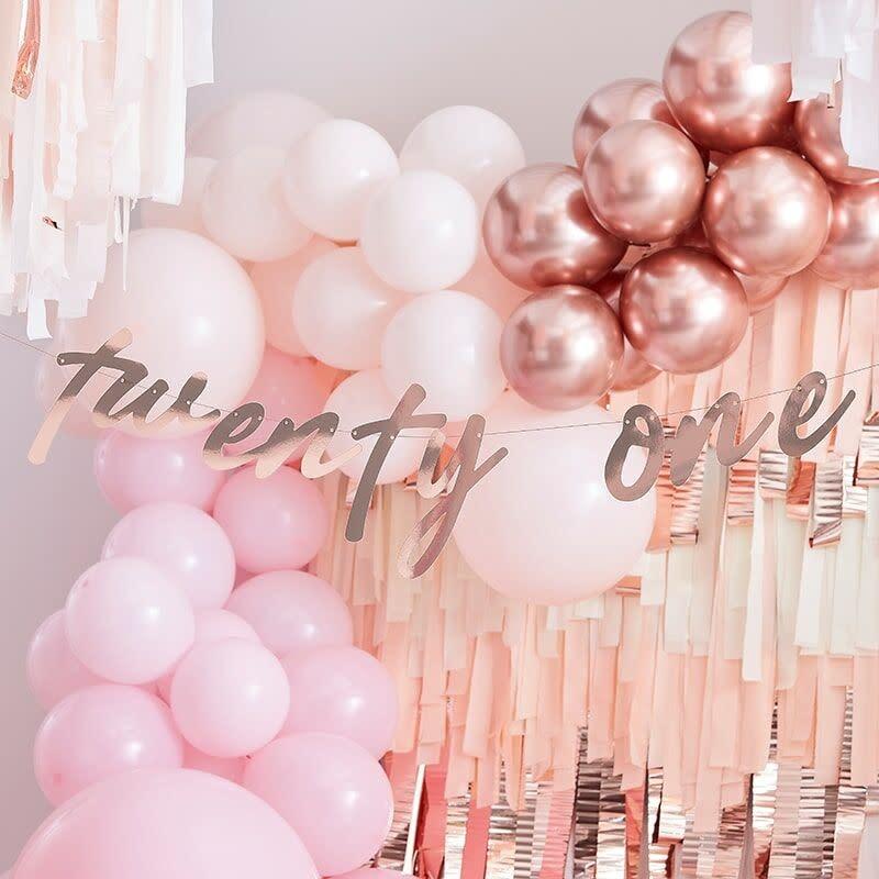 GINGERRAY 21ST ROSE GOLD HAPPY BIRTHDAY BANNER BUNTING