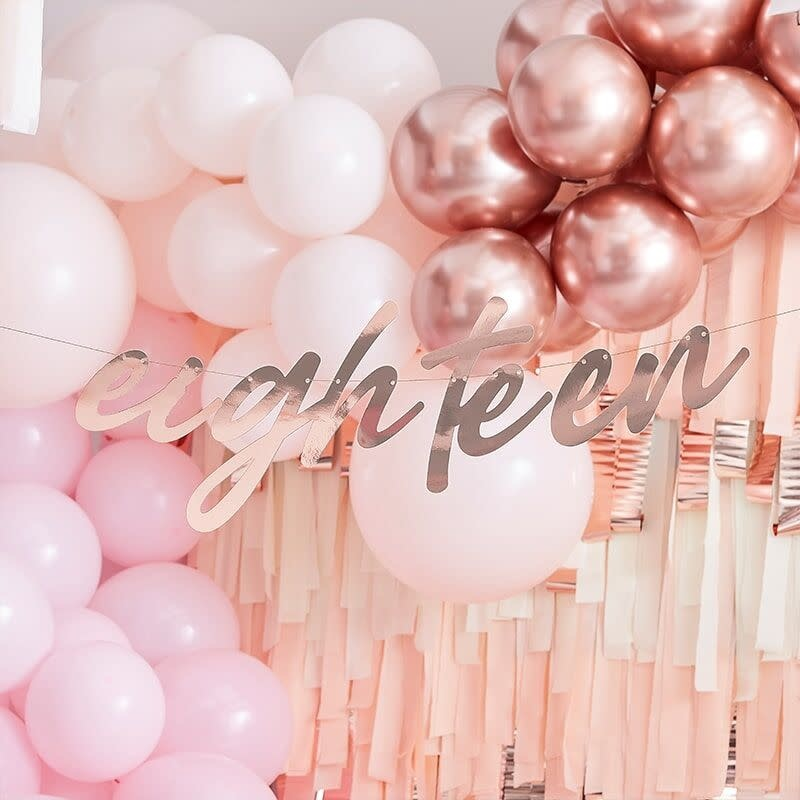 GINGERRAY 18TH ROSE GOLD HAPPY BIRTHDAY BANNER BUNTING