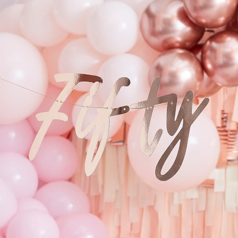 GINGERRAY 50TH ROSE GOLD HAPPY BIRTHDAY BANNER BUNTING