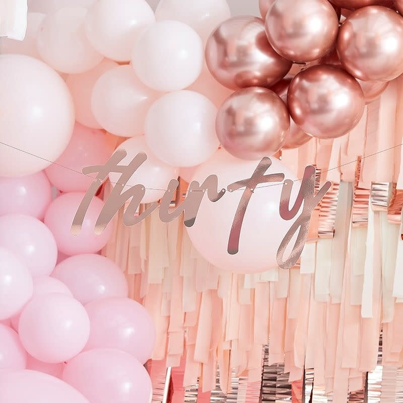 GINGERRAY 30TH ROSE GOLD HAPPY BIRTHDAY BANNER BUNTING