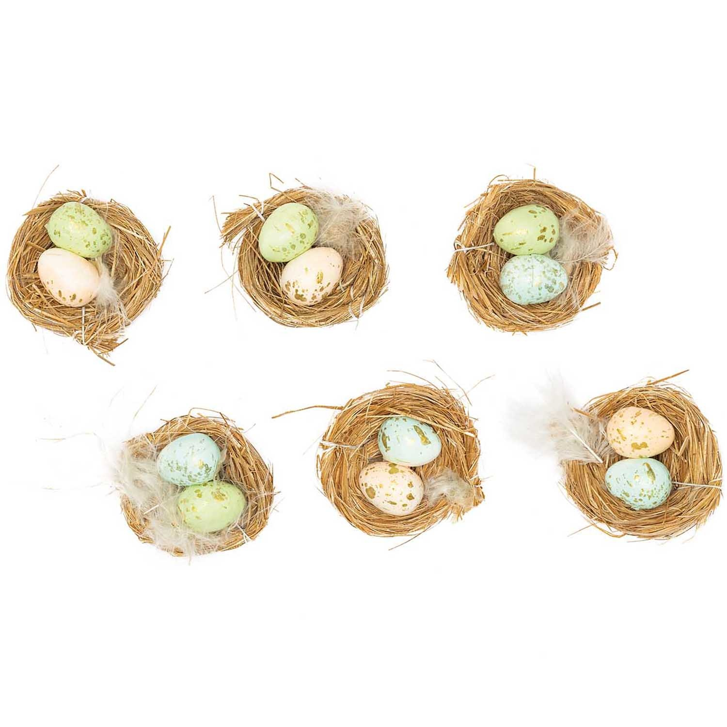 Rico NAY EASTER NEST WITH EGGS LIGHT 6 PC 6 CM