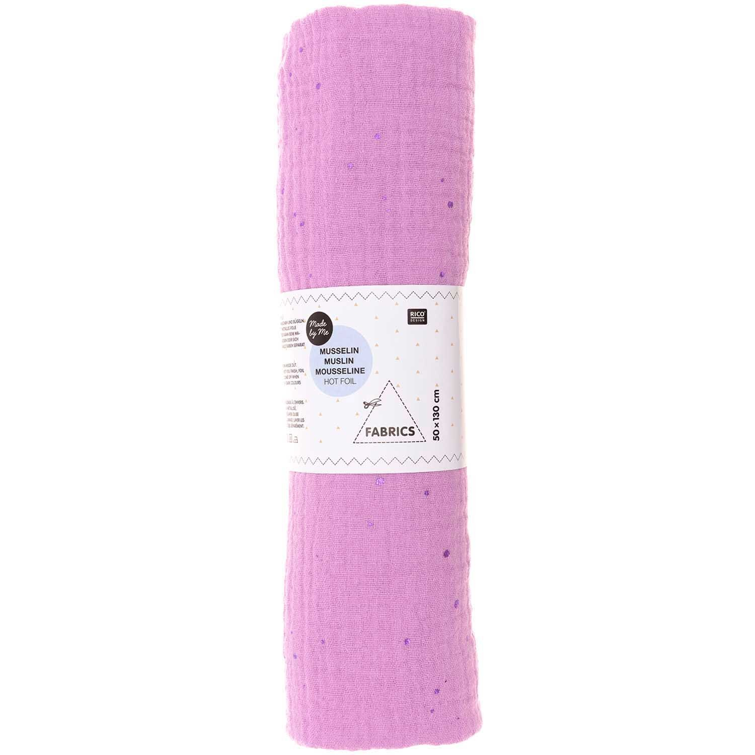 Rico NAY Crinkle muslin lilac, hot foil , piece 50 x 130 cm, 100% cotton, 130 g/sm