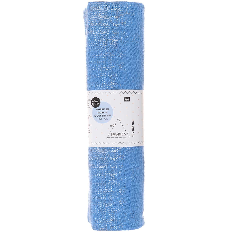 Rico NAY Crinkle muslin azure, hot foil , piece 50 x 130 cm, 100% cotton, 130 g/sm