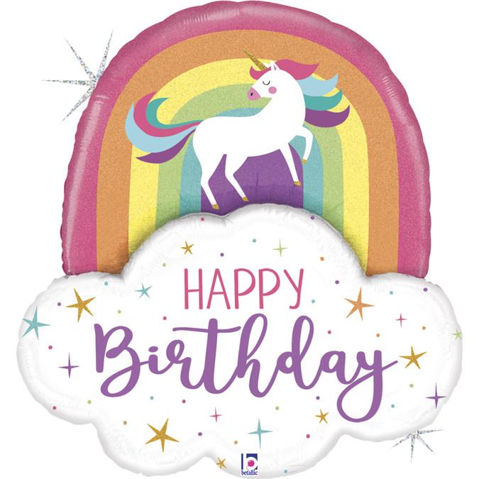 SMP Glitter Unicorn Rainbow Birthday foil balloon 89 cm