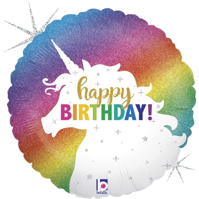 SMP Glitter unicorn rainbow foil balloon circle 45 cm