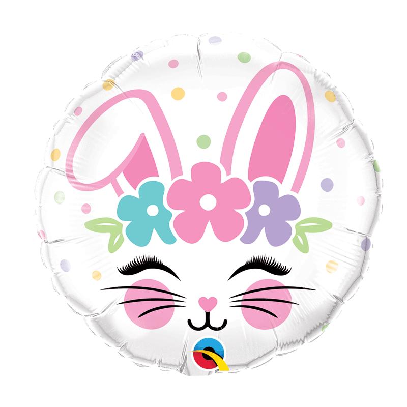 SMP bunny face foil balloon circle 45 cm