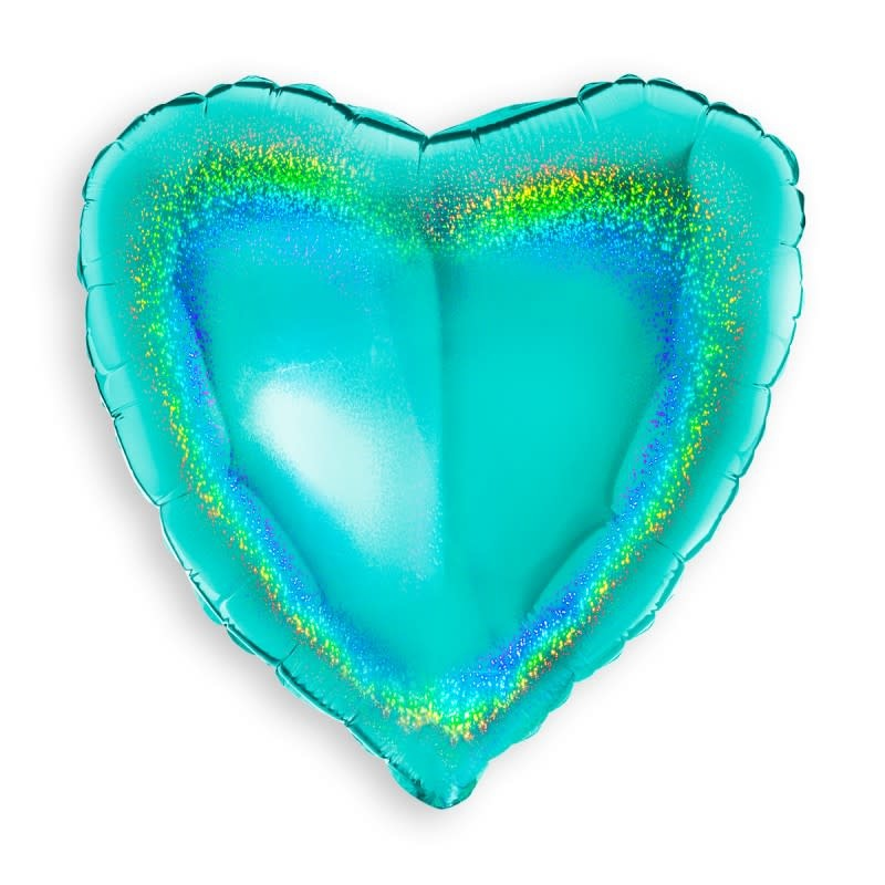 SMP glitter heart holographic mint foil balloon 90 cm