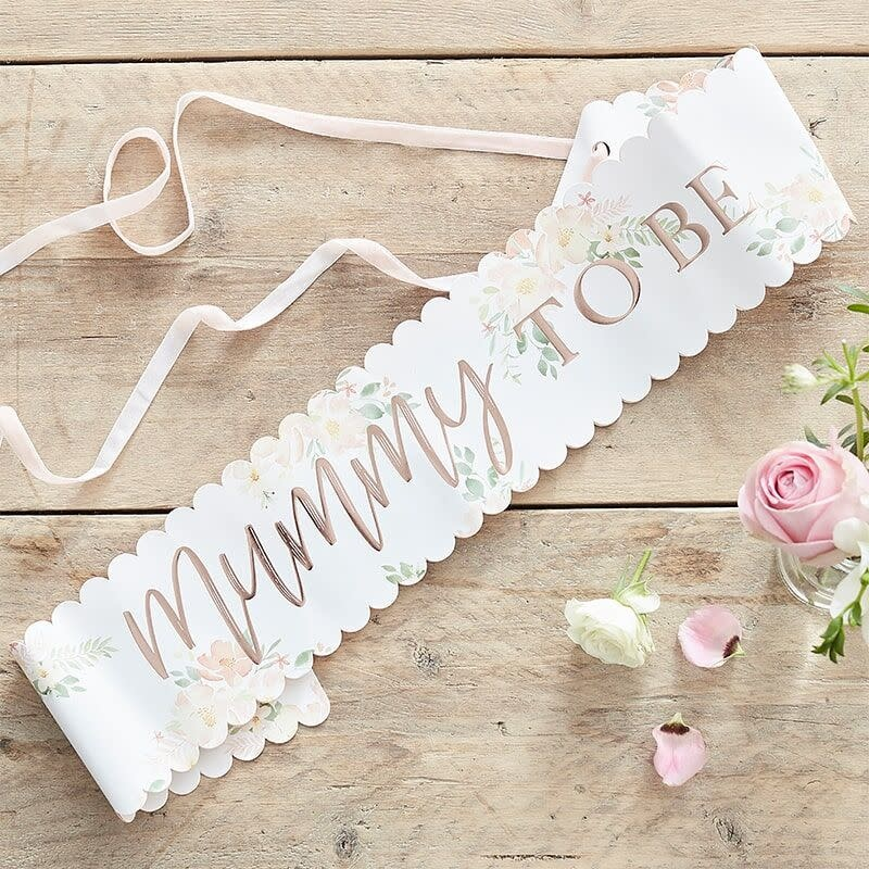 GINGERRAY FLORAL ROSE GOLD MUMMY TO BE BABY SHOWER SASH