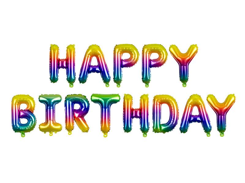 PD Foil Balloon Happy Birthday, 340x35cm, rainbow