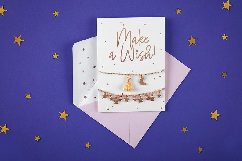 PD Card with bracelets Make a wish!, 10.5x14.8cm