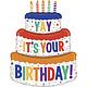 SMP b-day cake foil balloon XXL  125 cm