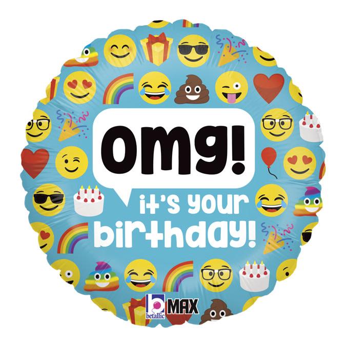 SMP emoji omg birthday circle foil balloon 45 cm