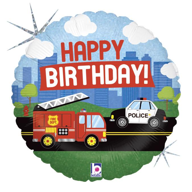 SMP emergency vehicle b-day circle foil balloon 45 cm