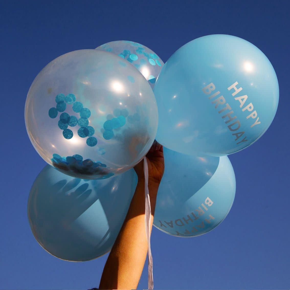 TT Blue Happy Birthday Confetti Balloons