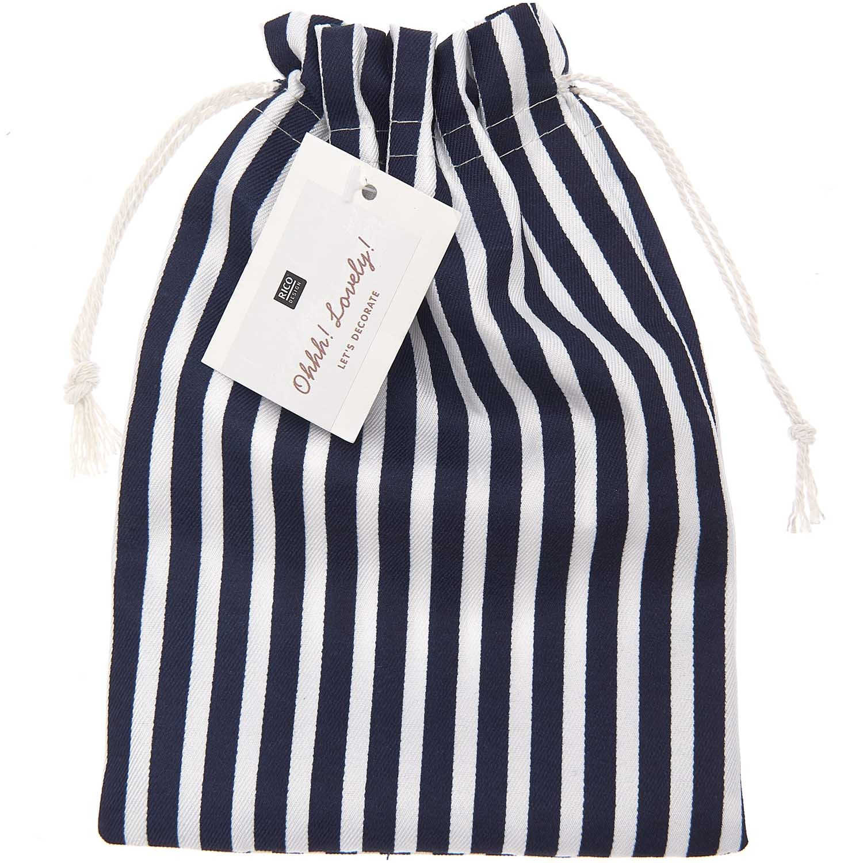 Rico NAY Cotton bag blue/white striped, 15x20cm