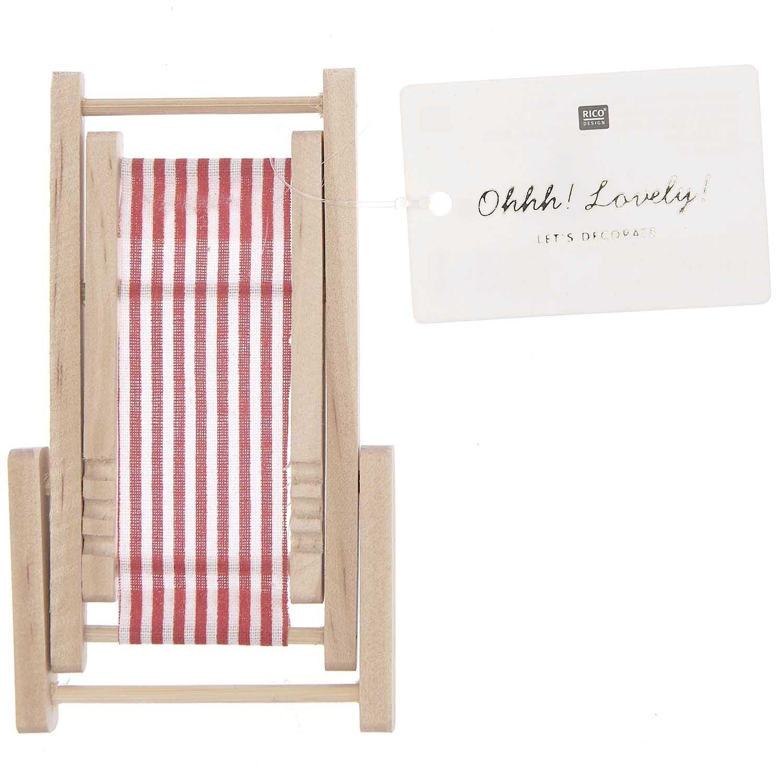 Rico NAY Deckchair, red/white, wood, 7x10cm