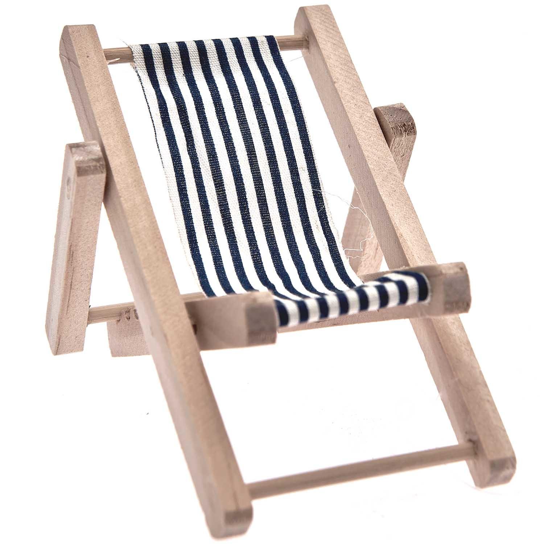 Rico NAY Deckchair, blue/white, wood, 7x10cm