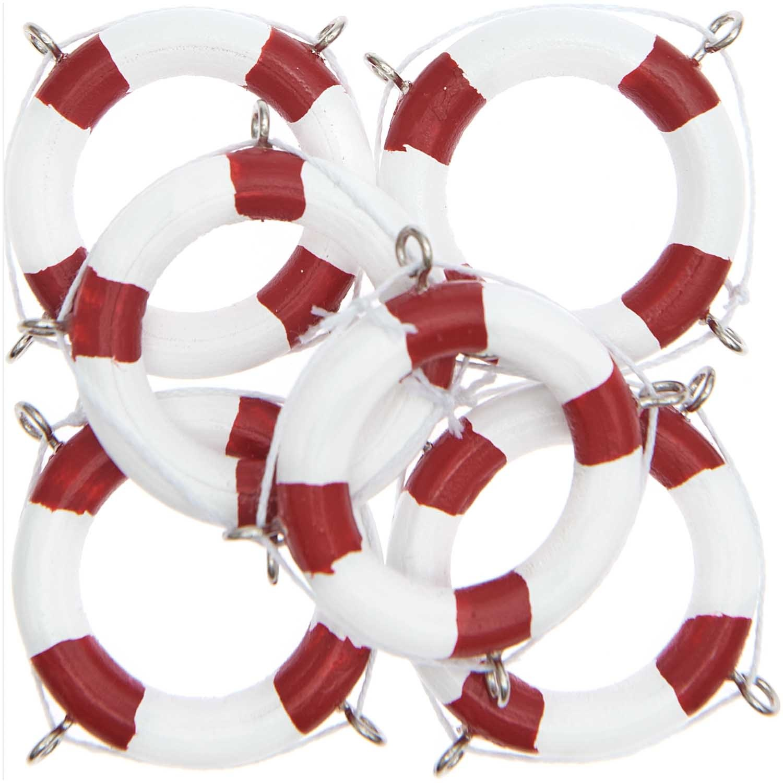 Rico NAY Deco lifebuoy, white/red, wood, 6 pcs