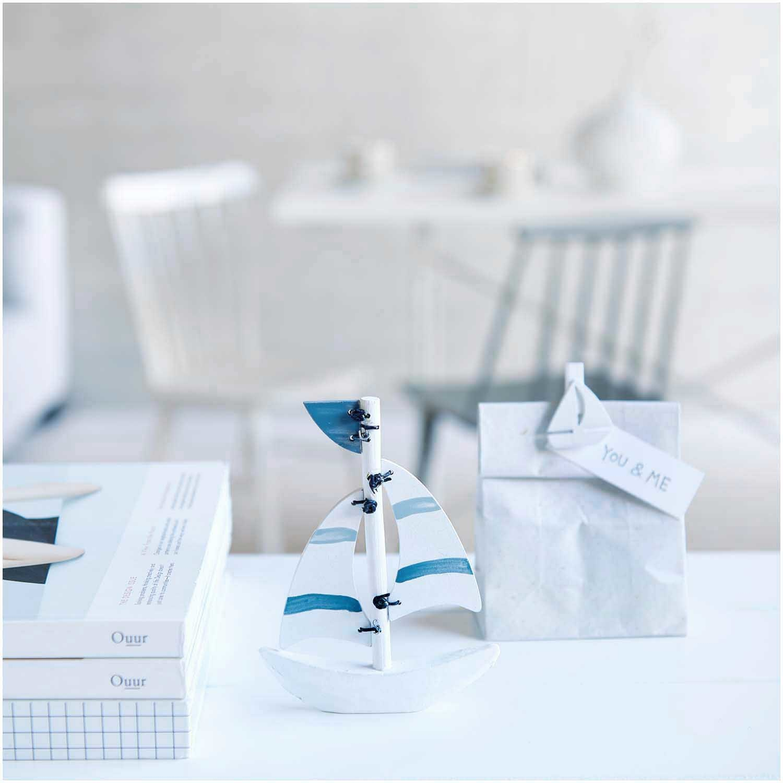 Rico NAY Deco-confetti sailingboat, white, wood, 36 pcs, 30x30mm