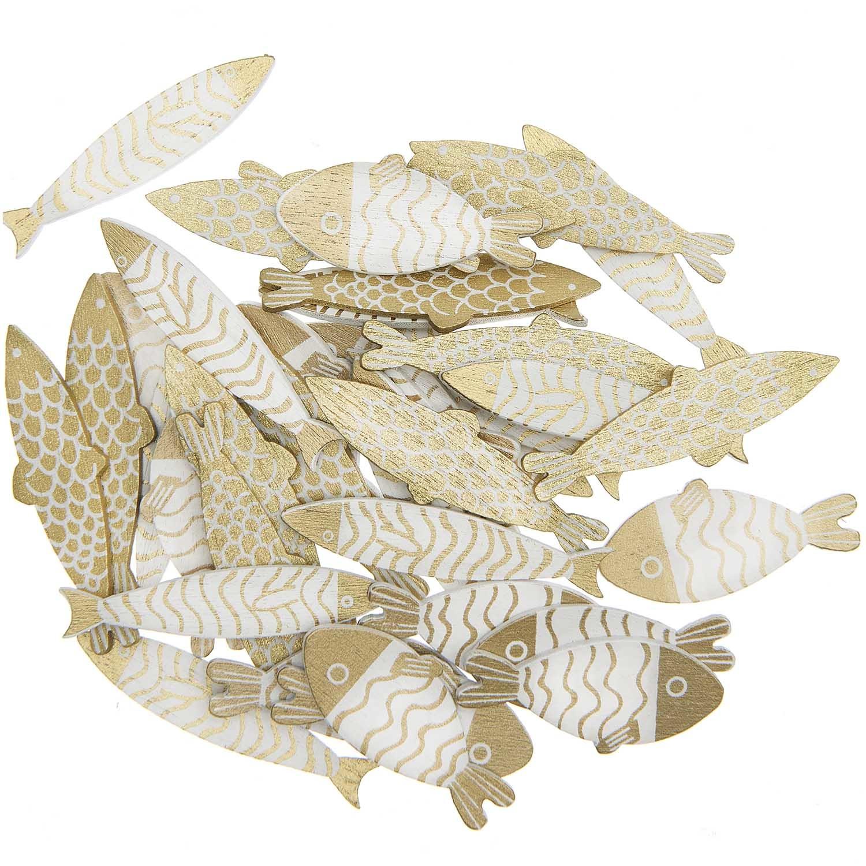 Rico NAY Deco-confetti fish, gold, white, wood, 36 pcs, 35mm x 16mm - 45mm x H 14mm