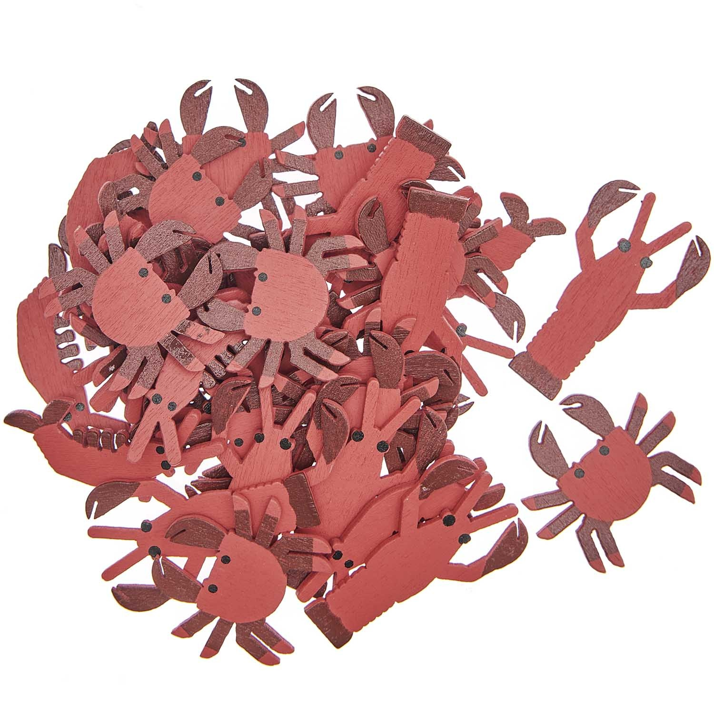 Rico NAY Deco-confetti marine animals, red, wood, 36 pcs, 14 x 35mm - 21 x 35mm