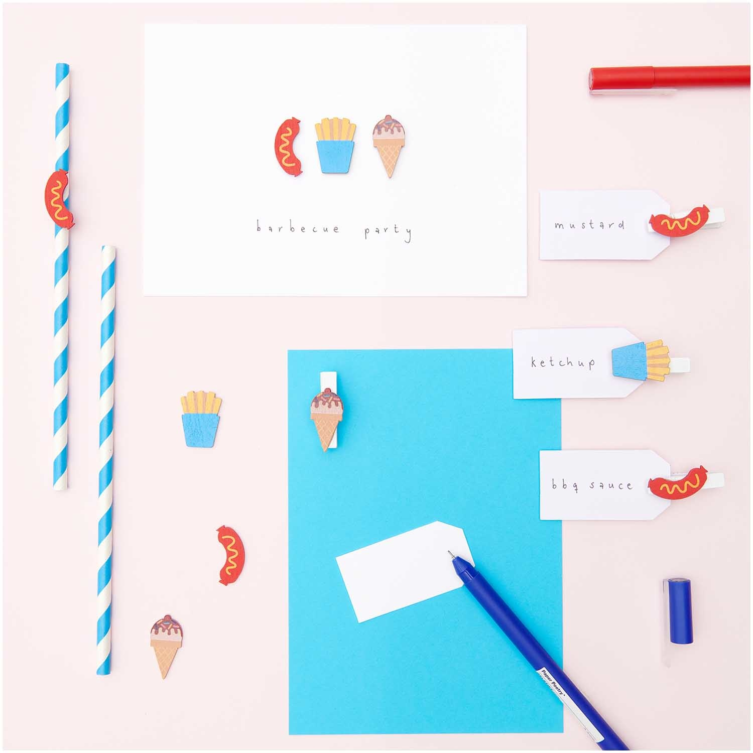 Rico NAY Deco-confetti snack, ice cream, french fries, sausage, wood, 36 p cs, 27mm x 12mm - 18,5mm x 25mm