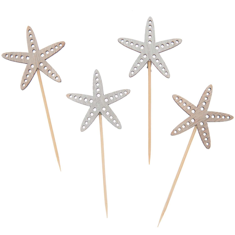 Rico NAY Deco-picks starfish, nature, wood, 75mm, 4 pcs