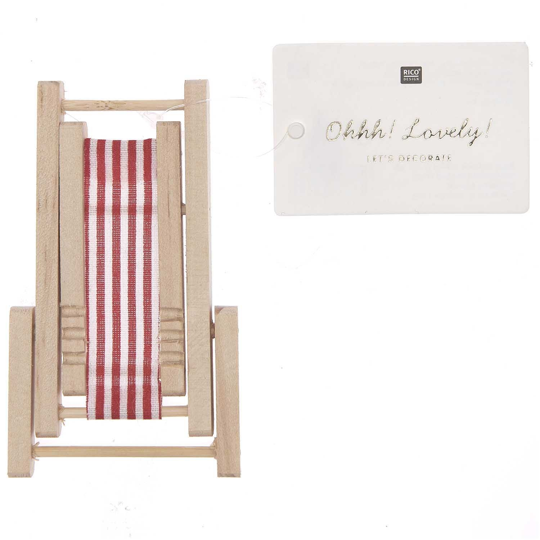Rico NAY Deckchair, red/white, wood, 5,5x8cm