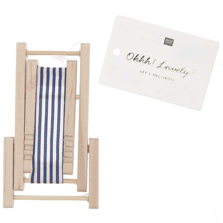 Rico NAY Deckchair, blue/white, wood, 5,5x8cm