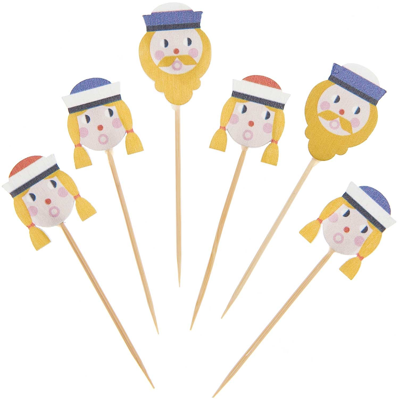 Rico NAY Deco-picks sailors, blue, red, wood, 6 pcs