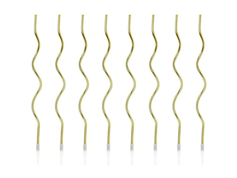PD Birthday candles curl, gold, 14 cm