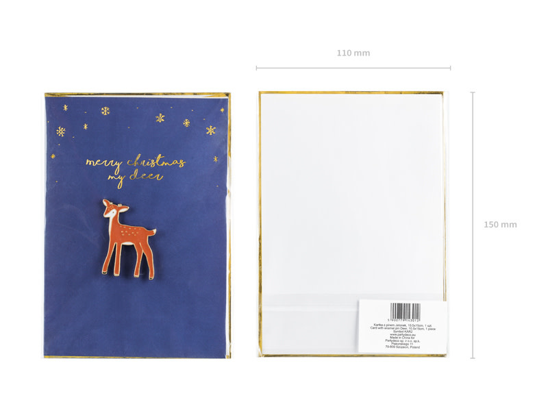 PD Card with enamel pin Deer, 10.5x14.8cm