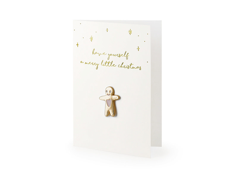 PD Card with enamel pin Gingerbread Man, 10.5x14.8cm