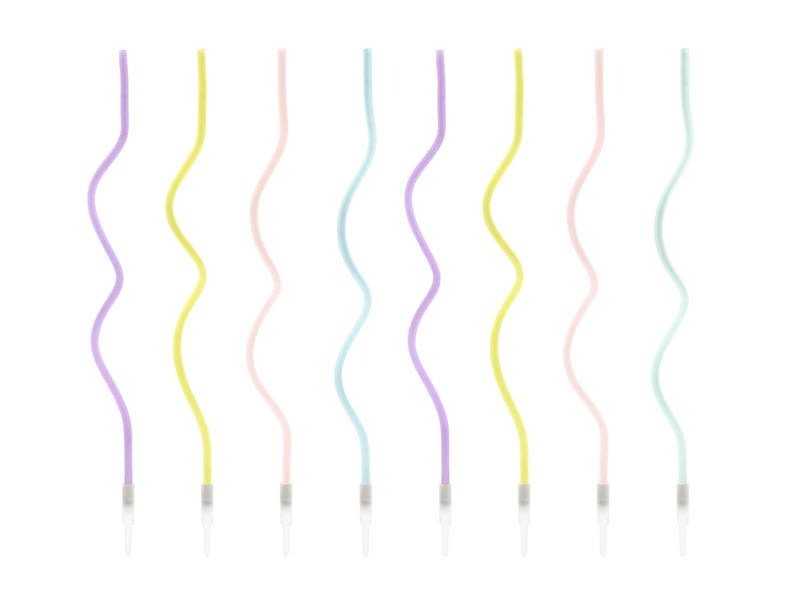 PD Birthday candles curl, mix, 14cm