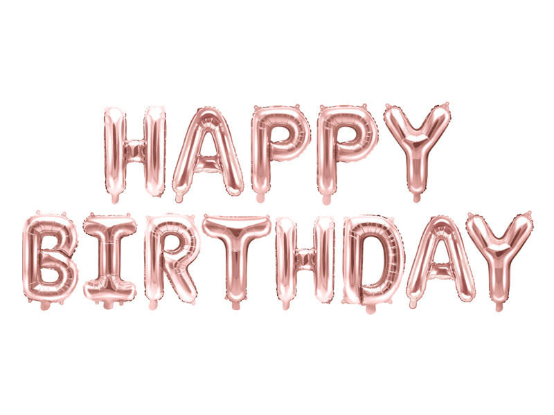 PD Foil Balloon Happy Birthday, 340x35cm, rose gold