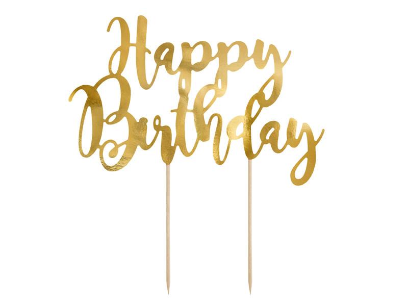 PD Cake topper Happy Birthday, gold, 22.5cm