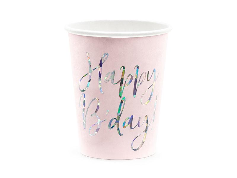 PD Cups Happy B'day!, light powder pink, 220ml
