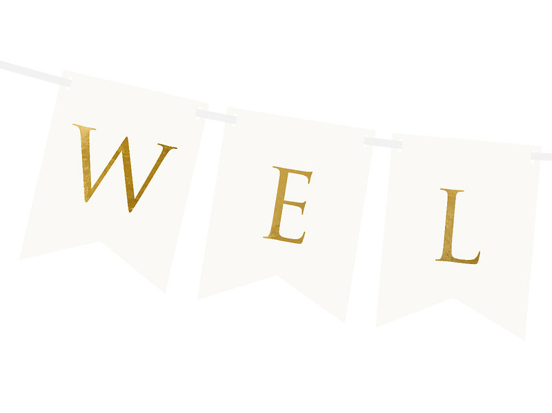 PD Banner Welcome, white, 15 x 95 cm