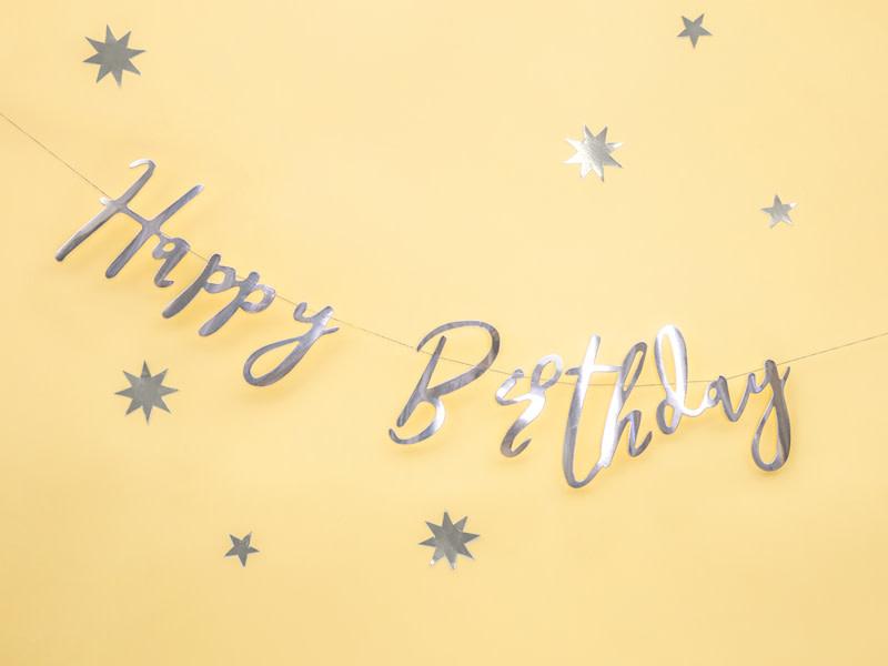 PD Banner Happy Birthday, silver, 16.5x62cm