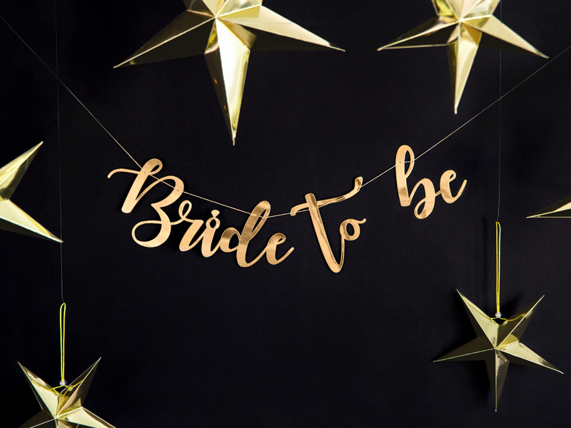 PD Banner Bride to be, gold, 80x19cm