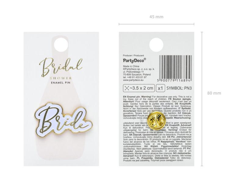 PD Enamel pin Bride, 3.5x2cm