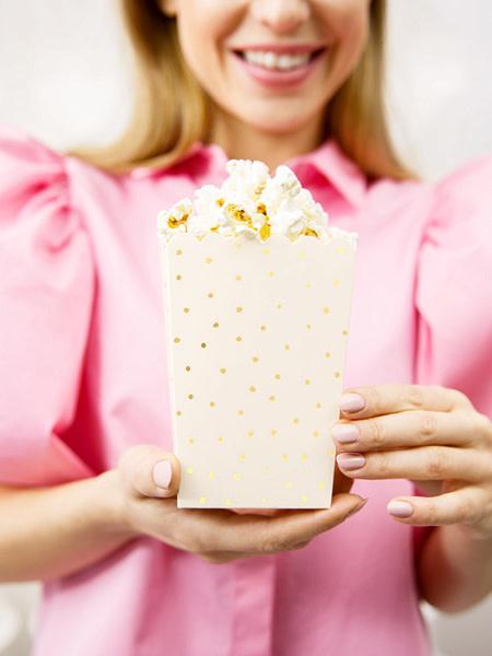 PD Boxes for popcorn Dots, light peach, 7x7x12.5cm