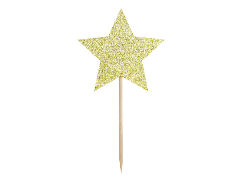 PD Cupcake toppers - Stars, gold, 11.5cm