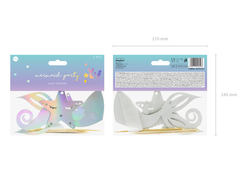 PD Cake toppers Mermaid, iridescent, 24.5cm